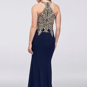 Navy blue and Gold Halter prom dress